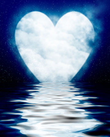 peacefull: Heart shaped moon reflected in ocean