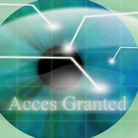 granted: Access granted after eye scan Stock Photo