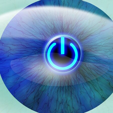 Human pupil with power button  photo