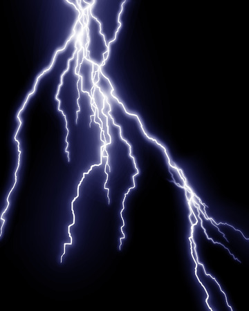 Blue lightning flash on black sky Stock Photo