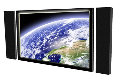 Big television screen with speakers Stock Photo