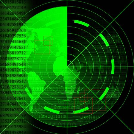war on terror: Green radar screen with world map