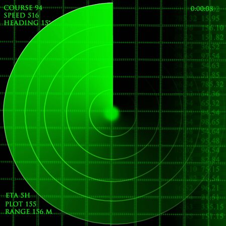 scanned: Green radar screen with data Stock Photo