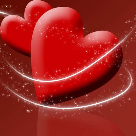 Two red hearts surrounded by sparkles
