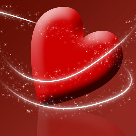A red heart surrounded by sparkles Stock Photo