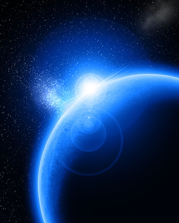 Blue planet in outer space Stock Photo - 1726996