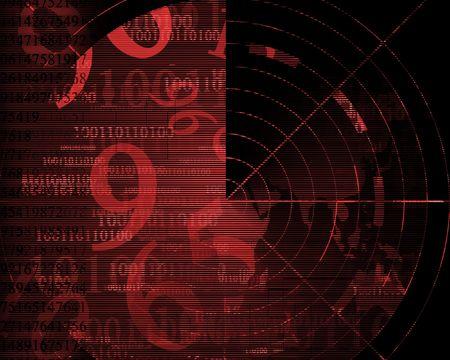 sonar: Grungy radar screen  Stock Photo