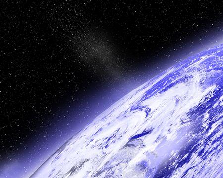 earthlike: Earth horizon with moon on the background