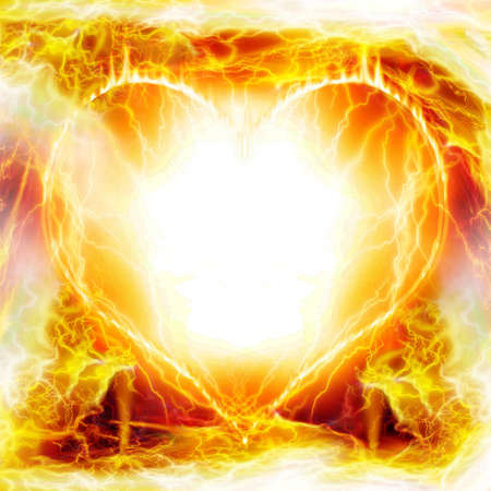 soul mate: Heart on fire Stock Photo