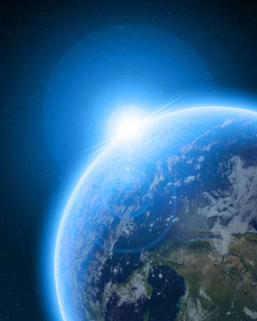 Blue planet earth in outer space photo