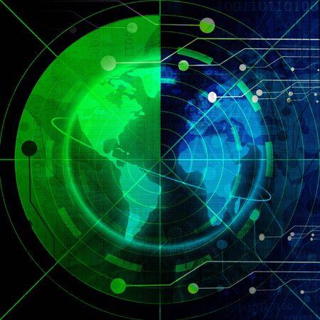 sonar: Green �cran radar  Banque d'images