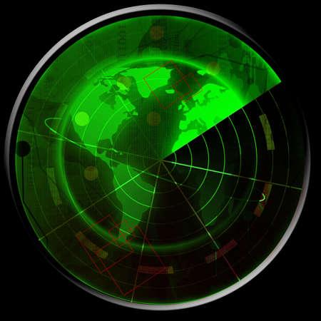 sonar: Green radar screen Stock Photo