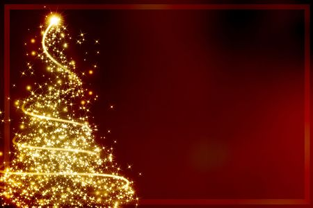 Abstract golden christmas tree on red background Фото со стока