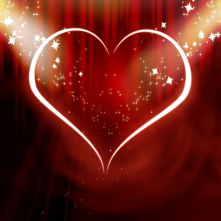 Red heart in the spotlights photo