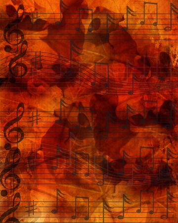 sol: Music notes on dark brown background