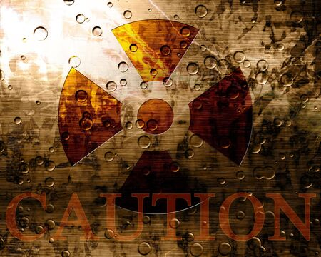 Worn nuclear sign with caution note Stock Photo - 2275244