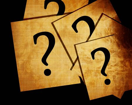 think tank: Question marks on white papers Stock Photo