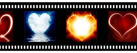 negative film strip with heart images photo