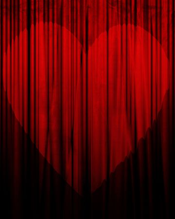 famous writer: Movie or theater curtain with heart shaped spotlight