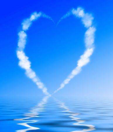 vapor: Heart shaped cloud trail Stock Photo