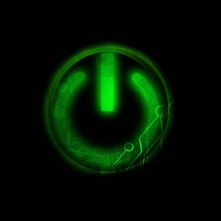 energize: Glowing green power on button