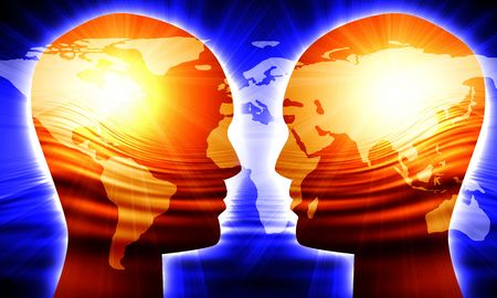 minds: Global communication Stock Photo