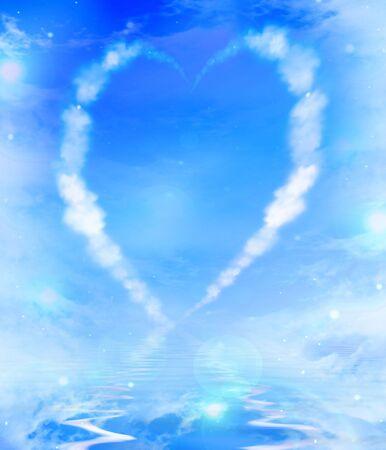 vapor trail: Heart shaped cloud trail Stock Photo