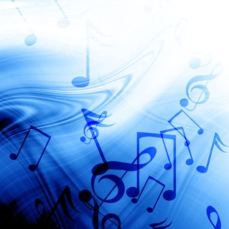 Blue abstract background with music notes Stock Photo