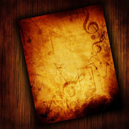 sol: Music sheet on wooden background