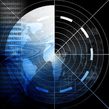 submarino: pantalla de radar con mapa del mundo  Foto de archivo