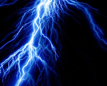 volts: Intense lightning on a black background Stock Photo