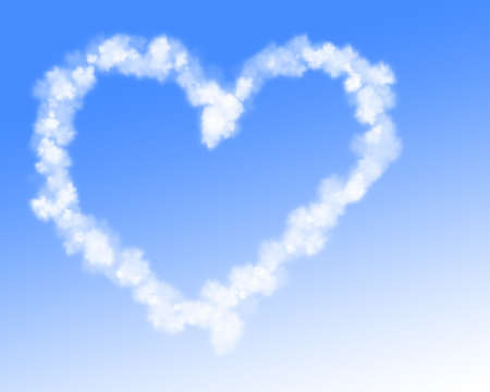 vapor trail: White Heart shaped cloud trail Stock Photo