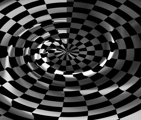 the fastest: Abstract checkered background with spiral Stock Photo