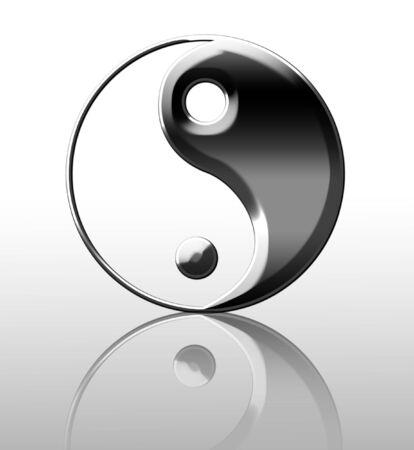 Silver yin yang symbol on a white background Stock Photo