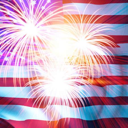 Bandera americana con fuegos artificiales