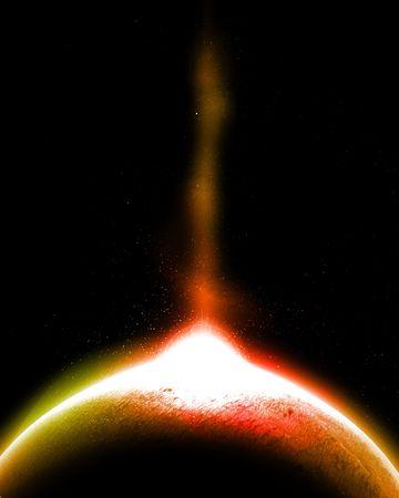 lightbeam: Planet with lightbeam