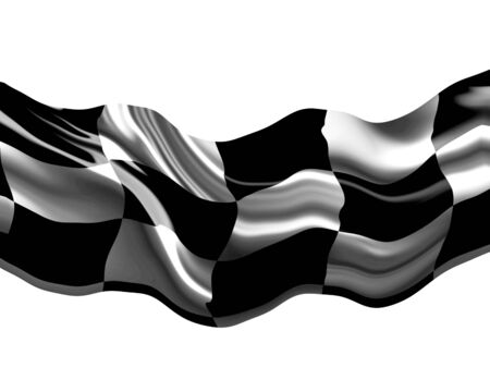 Checkered flag waving in the wind Stock Photo