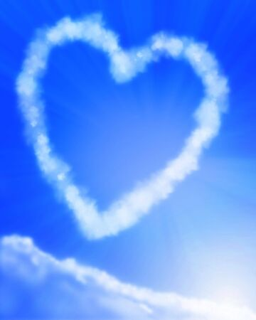 vapor trail: Heart shaped cloud formation in blue sky Stock Photo