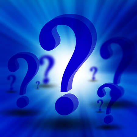 think tank: 3d question marks on blue background