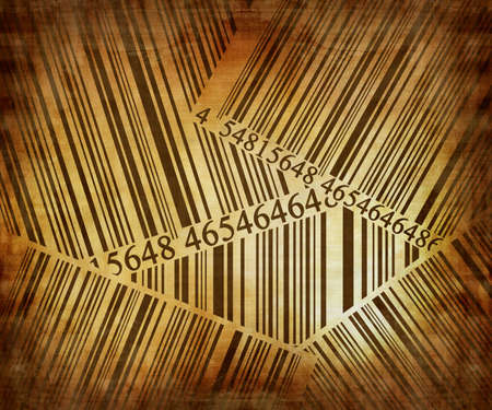 discolored: Barcode collection on a vintage paper background Stock Photo