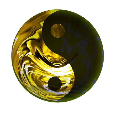 ying yang: Golden Yin Yang symbol isolated on white background