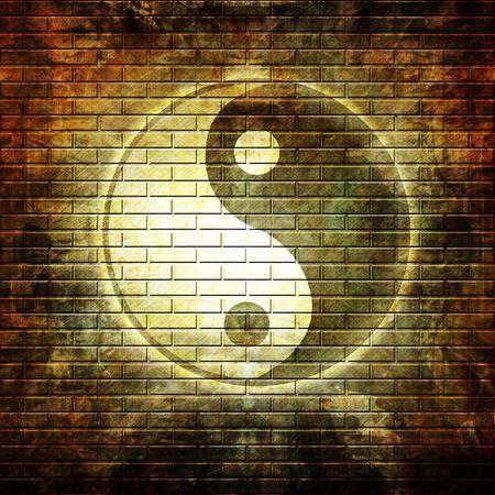 yang yin: Grunge pared con graffiti s�mbolo yin yang  Foto de archivo