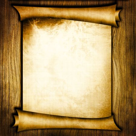 scroll paper: Ancient scroll on wooden background Stock Photo