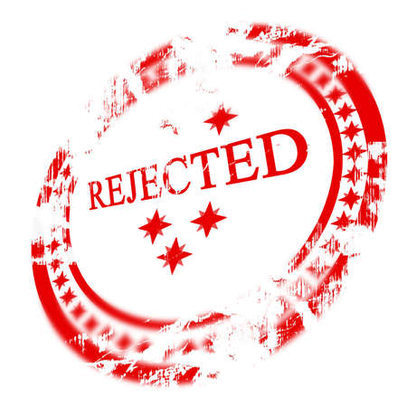 regulated: Red rejected stamp on white background