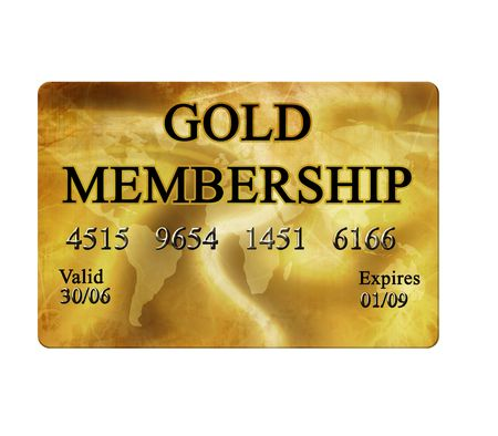MEMBERSHIP: Gold membership card on white background