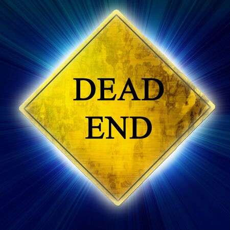 the end: Dead end sign on a light blue background