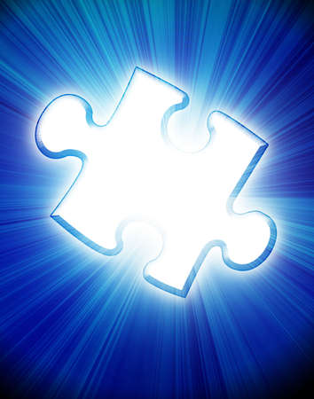 Single puzzle piece on a blue background Stock Photo - 2990808