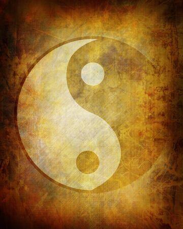 Yin yang symbol on grunge background photo