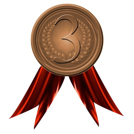 bronze medal on a solid white background Stock Photo - 3095743