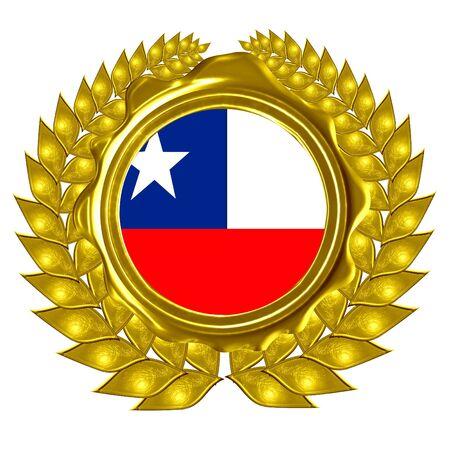 chilean flag: chilean flag in a wreath